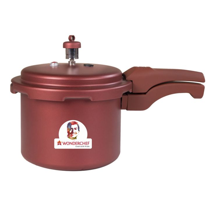 WC HEALTHGUARD PRESSURE COOKER3LTRMAROON Aluminium Cookers in Steel Color Colour by Wonderchef