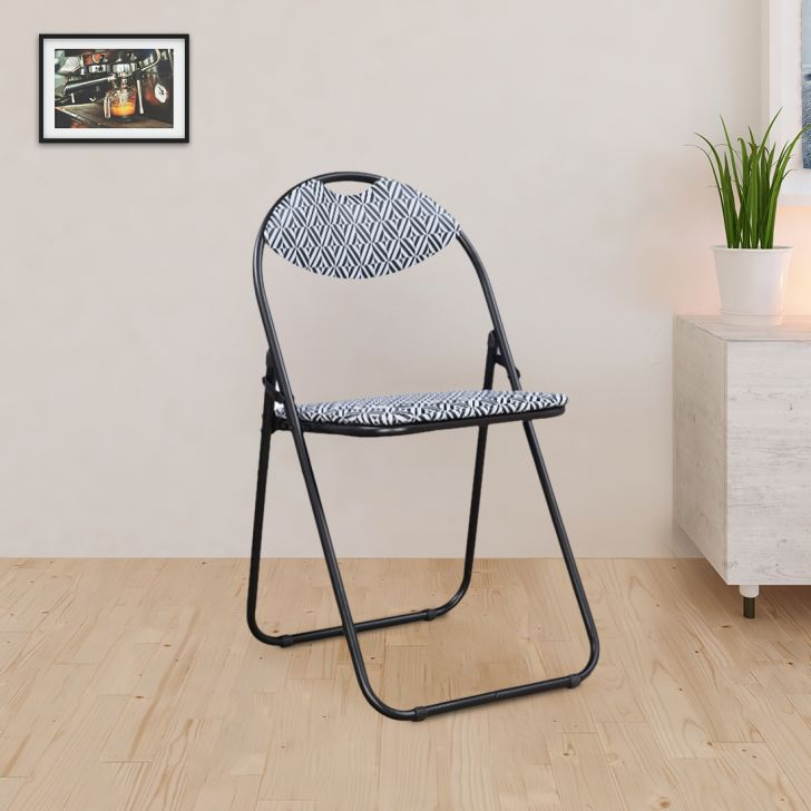 Elena Metal + Leatherette Folding Chair in Black Colour by HomeTown