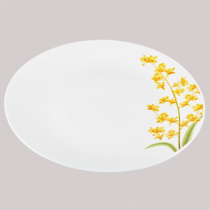 Diva Ivory Full Plate Yellow Grace Glass Plates in White Colour by Diva