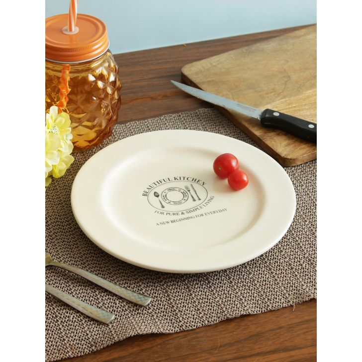 Living essence Ceramic Plate in White Colour by Living Essence