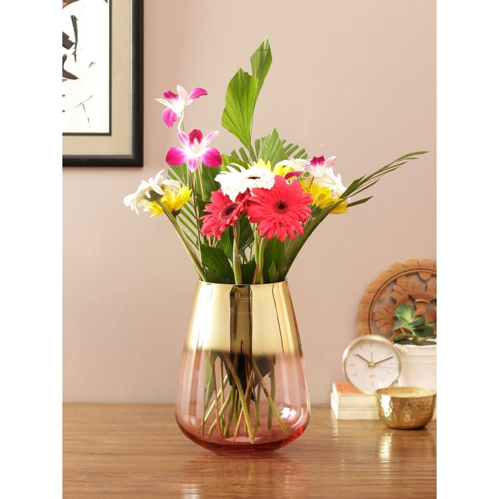 Eva 2 Tone Modern Glass Vase Rose Gold Pink Glass Vases in Rose Gold Pink Colour by Living Essence