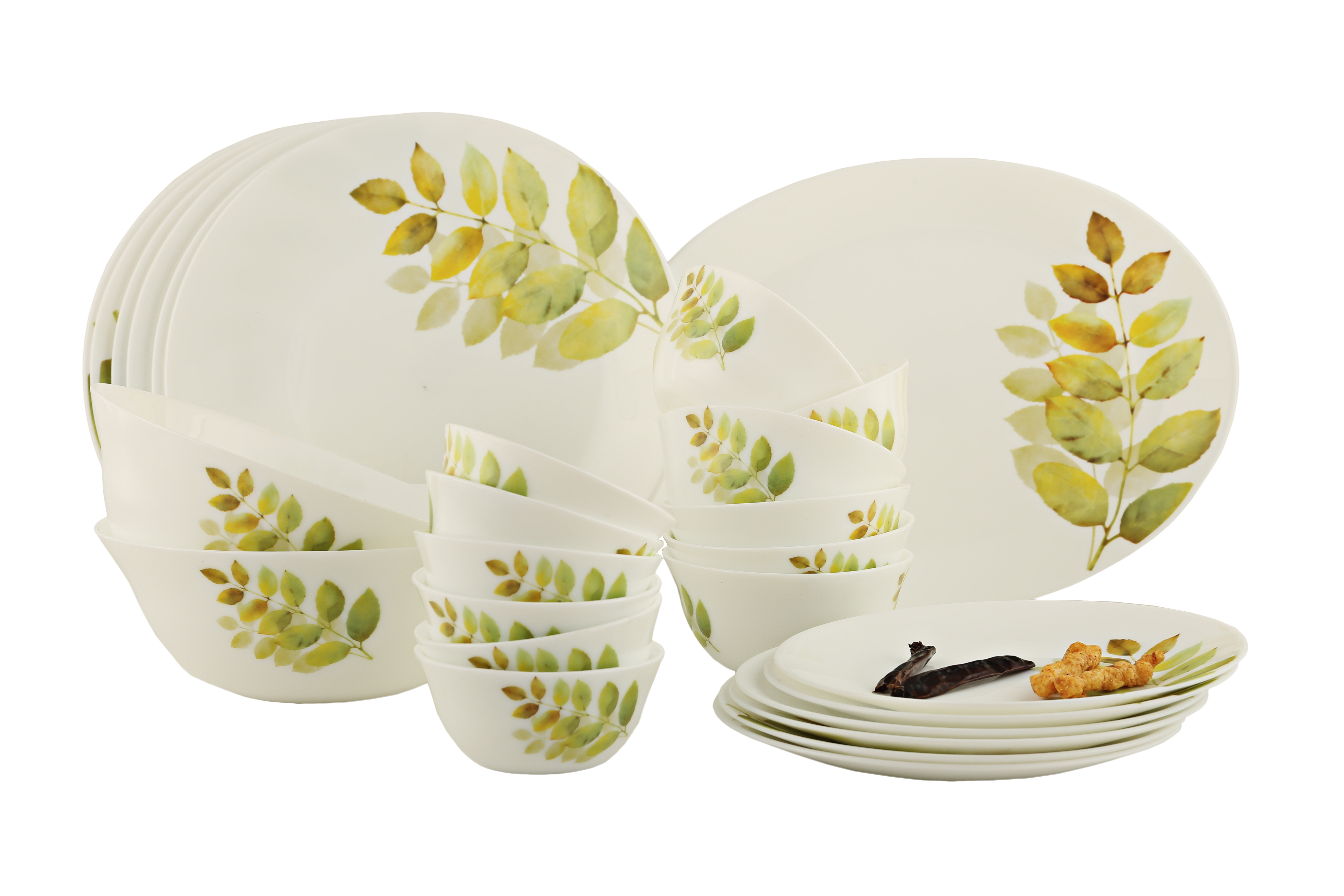 Diva Diva Autum Shadow Ivory Dinner Set 27 Pc Dinner Sets in Yellow Colour by Diva