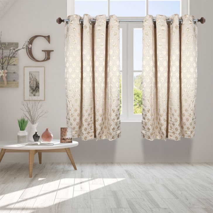 Premium Jacquard Polyester Window Curtain in Beige Colour by Dreamline