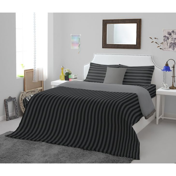 Spaces Sky Rise Black Cotton King Xl Bed Sheet With 2 Pillow Covers