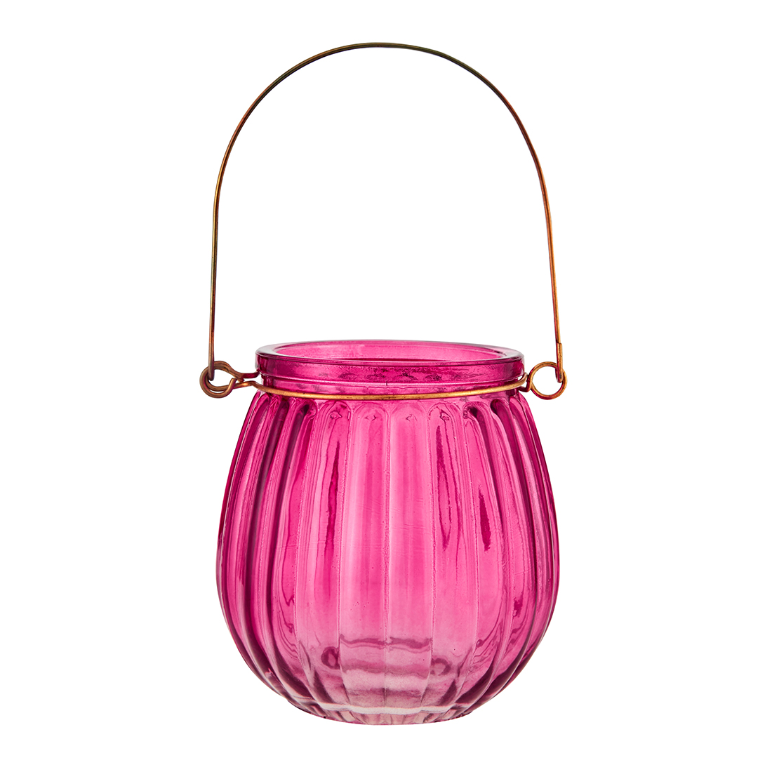 Marvela Colored Glass Candle Holder Pink Glass Candle Holders in Pink Colour by Living Essence