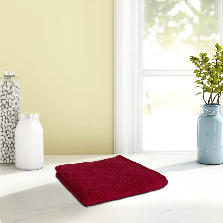 Spaces Cotton Face Towel in Red Colour by Spaces