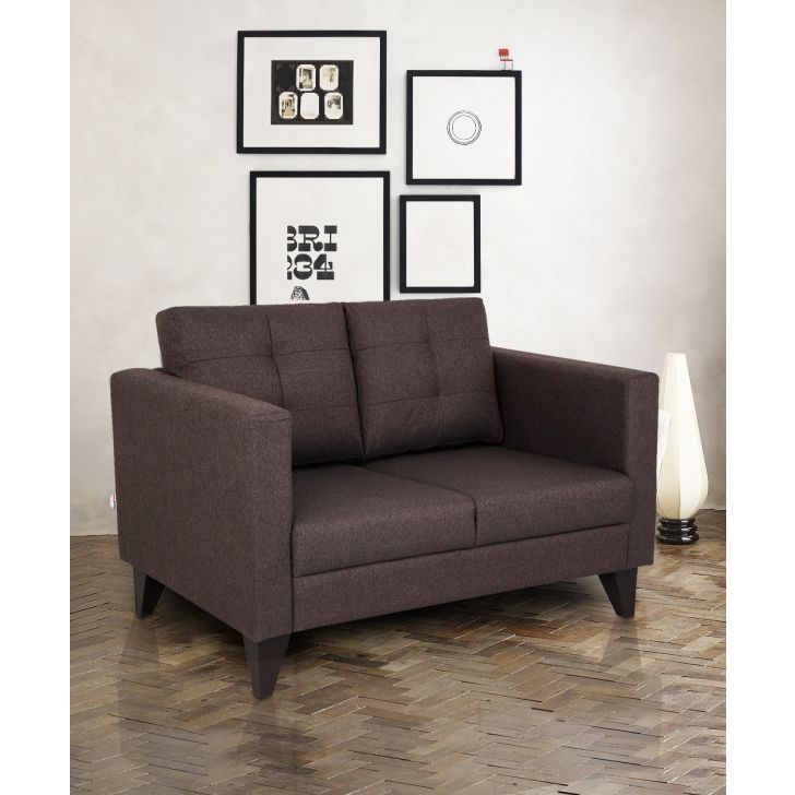 Castellar Fabric Two Seater sofa in Brown Colour by HomeTown