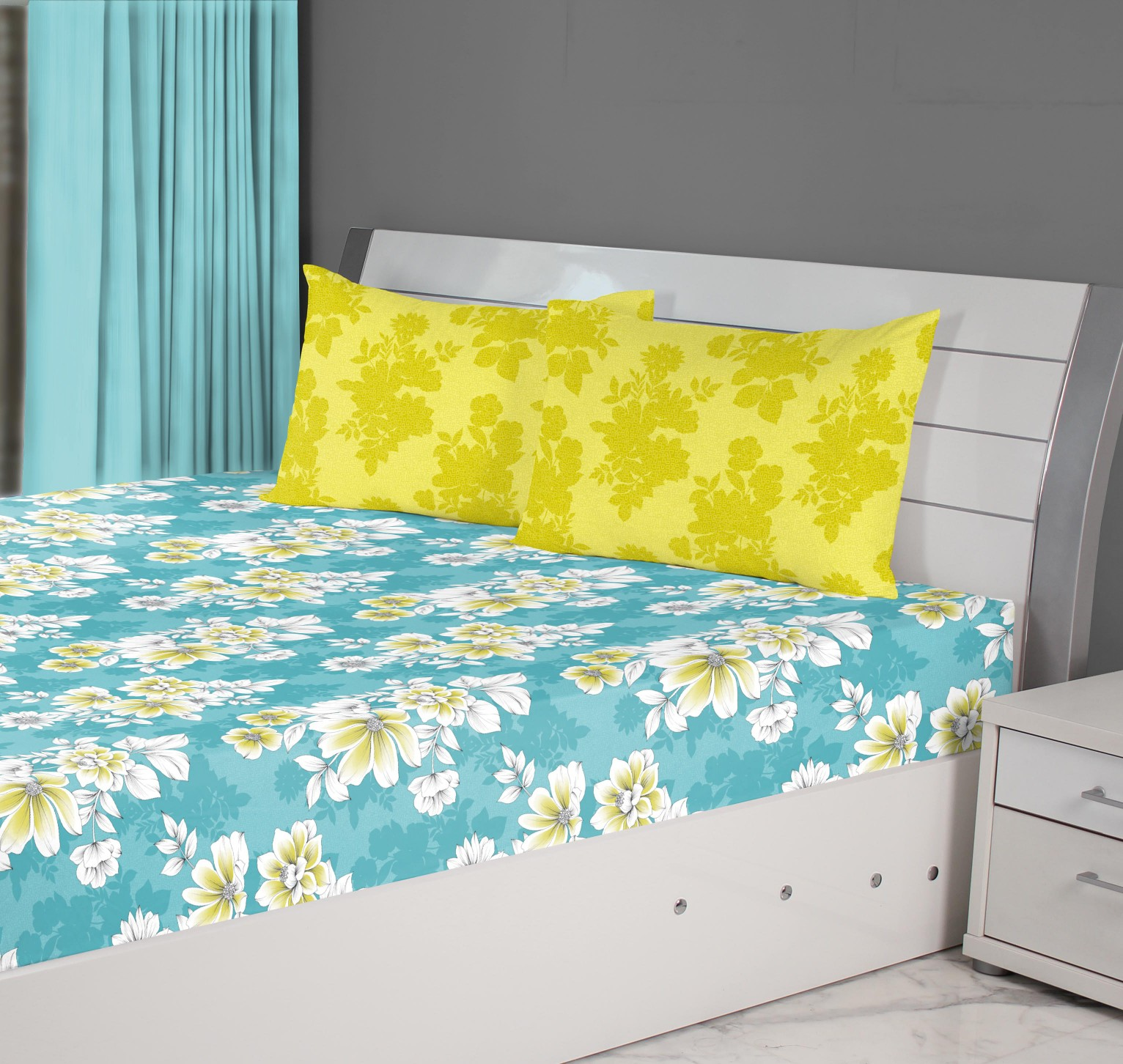 Fiesta Leaf Cotton Double Bedsheets in Mustard Colour by Living Essence