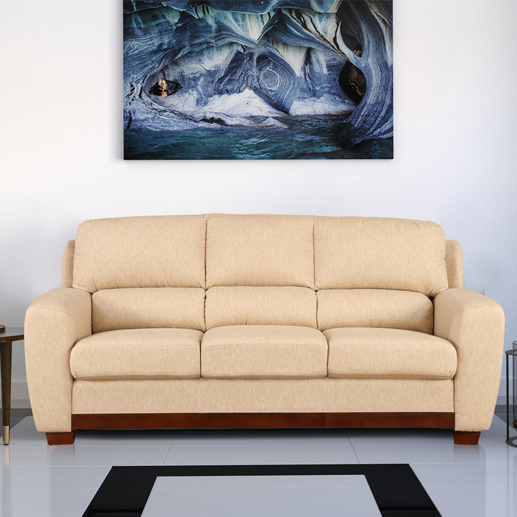 Brendon Fabric Three Seater sofa in Beige Colour by HomeTown