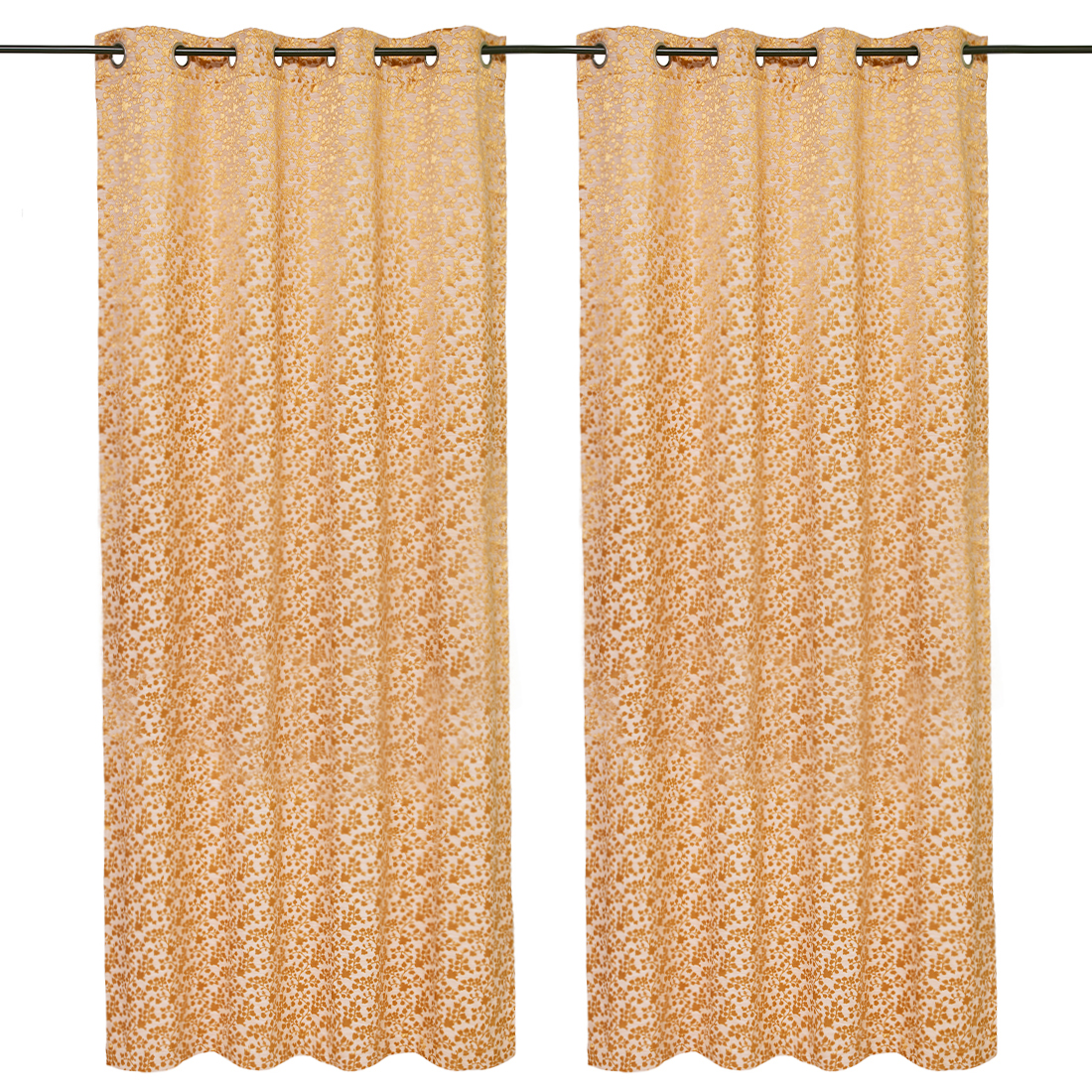 Amour Jacquard set of 2 Polyester Door Curtains in Mustard Colour by Living Essence