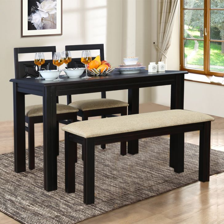 Flora Solid Wood Four Seater Dining Set With Bench in Walnut Colour by HomeTown