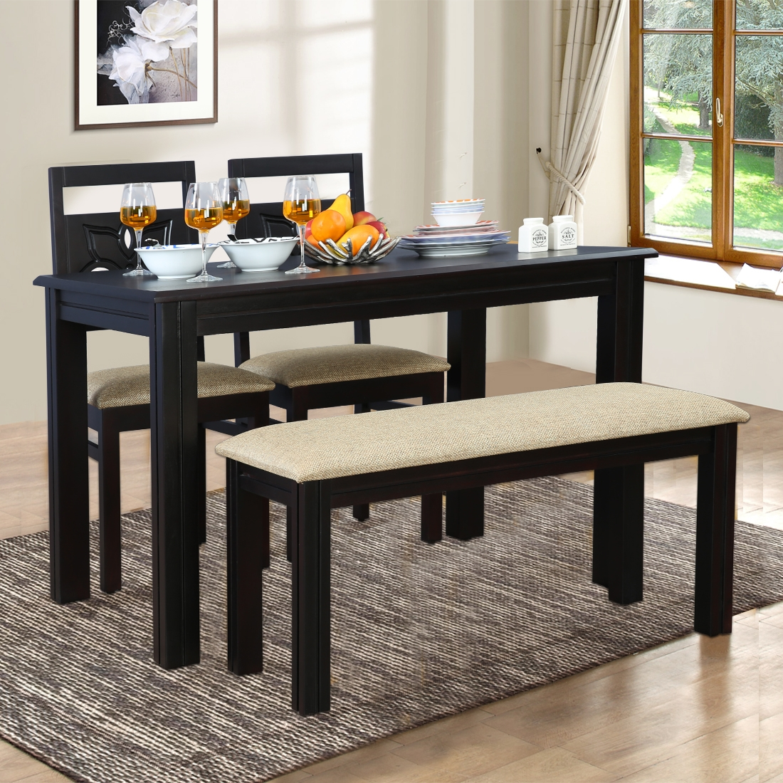 Buy Flora Solid Wood Four Seater Dining Set With Bench In Walnut Color By Hometown Online At Best Price Hometown