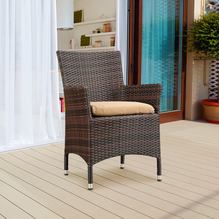 Dahila Polyurethane Outdoor Chair in Dark Oak & Brown Colour by HomeTown