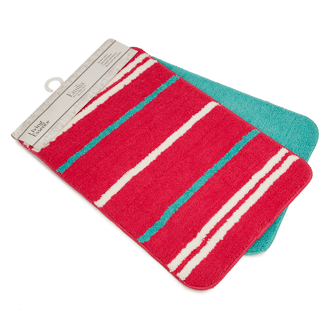 Set of 2 Bathmats Pink Teal Bath Mats in Pink Teal Colour by Living Essence