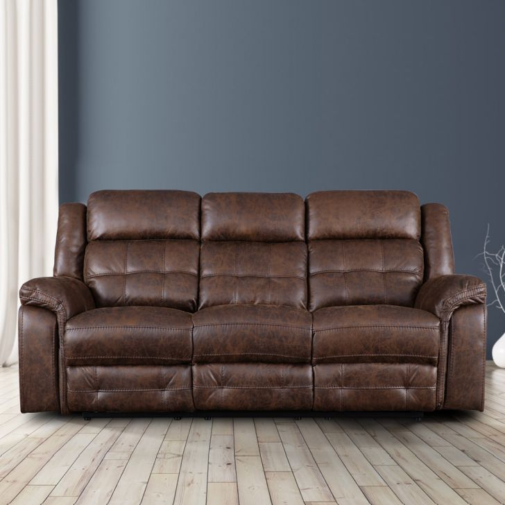 Zurich Solid Wood Three Seater Recliner With Tray in Brown Colour by HomeTown