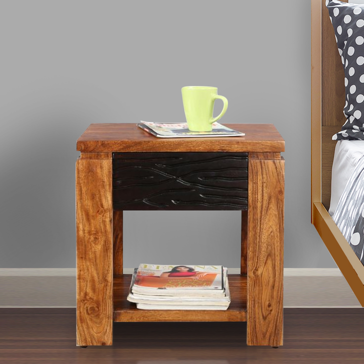 Leopold Solid Wood Bedside Table in Brown Colour by HomeTown