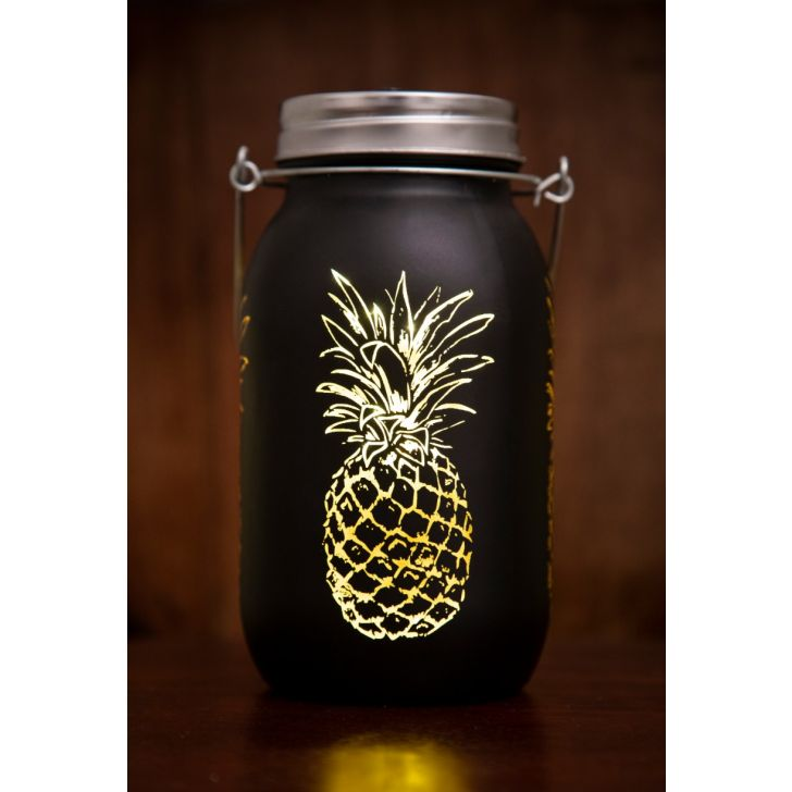VENUS P.APPLE CUTOUT MASON JAR BLCK Glass Accent Lighting in Black Colour by Living Essence