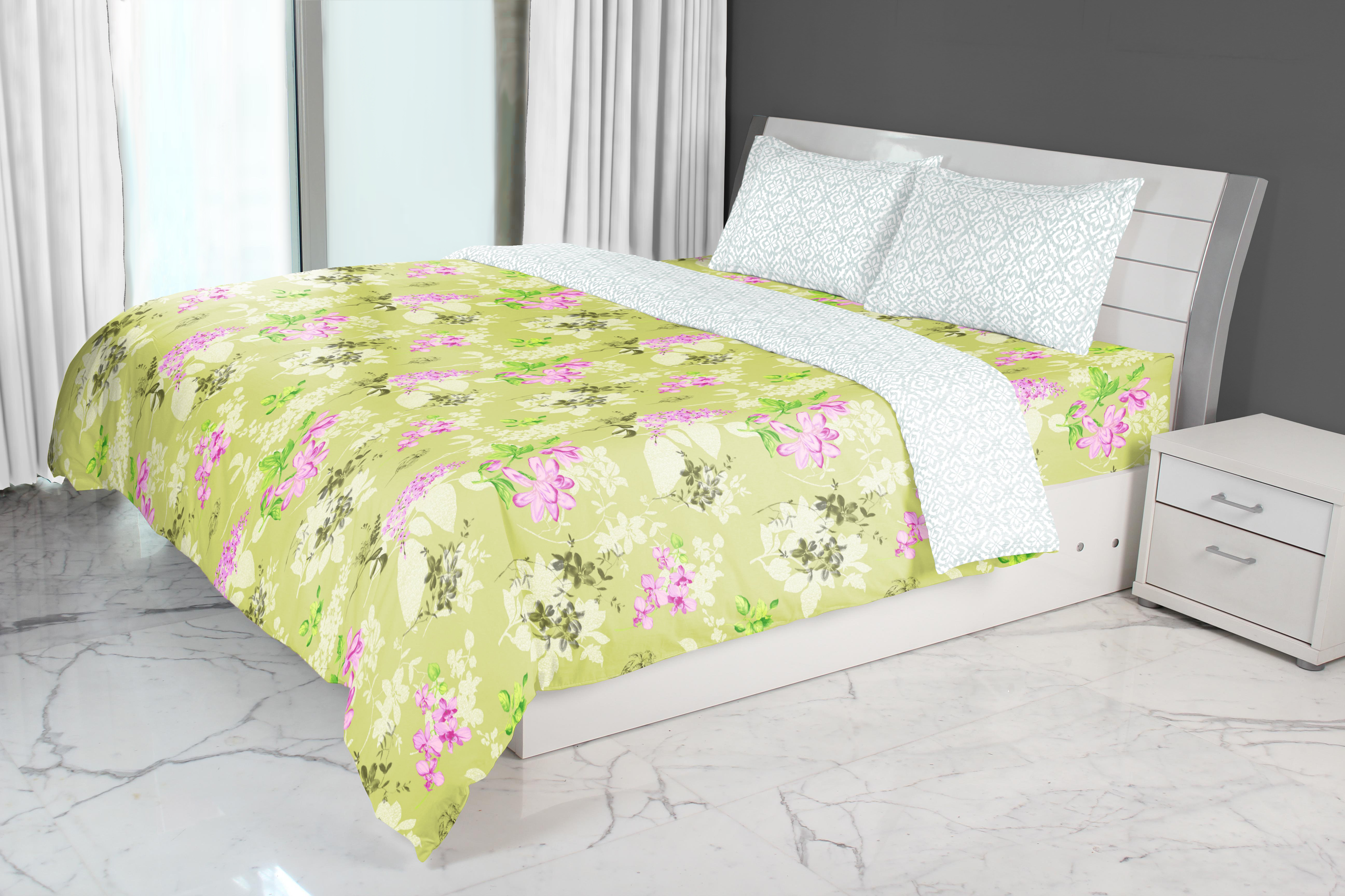 Emilia Cotton Comforters in Lime Colour by Living Essence