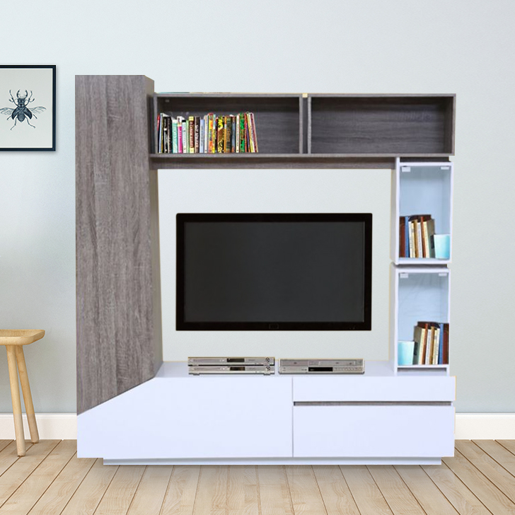 Jasmine Engineered Wood TV Unit in Dark Oak  & White Colour by HomeTown