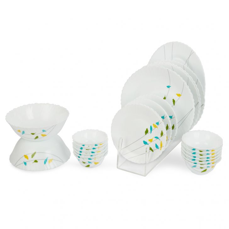 27 Pcs Austin Birdsvilla Opal Dinner Set Opalware Dinner Sets in White Colour by Living Essence
