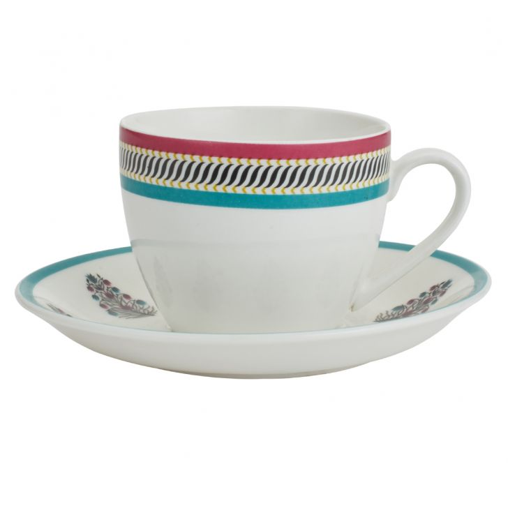 Utsav Cup & Saucer Ceramic Cups & Saucers in Multi Color Colour by Living Essence