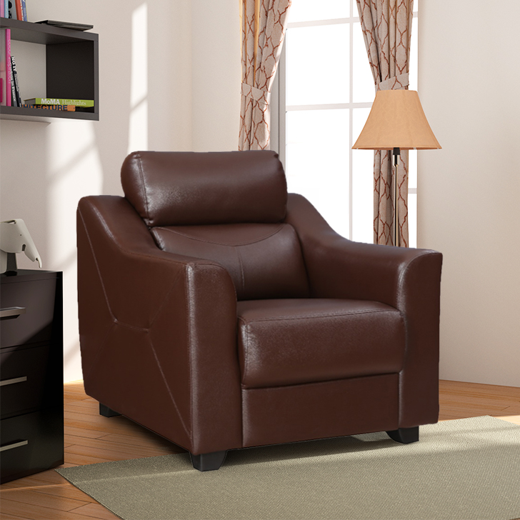 Alfred Leatherette Single Seater Sofa in Brown Colour By Hometown