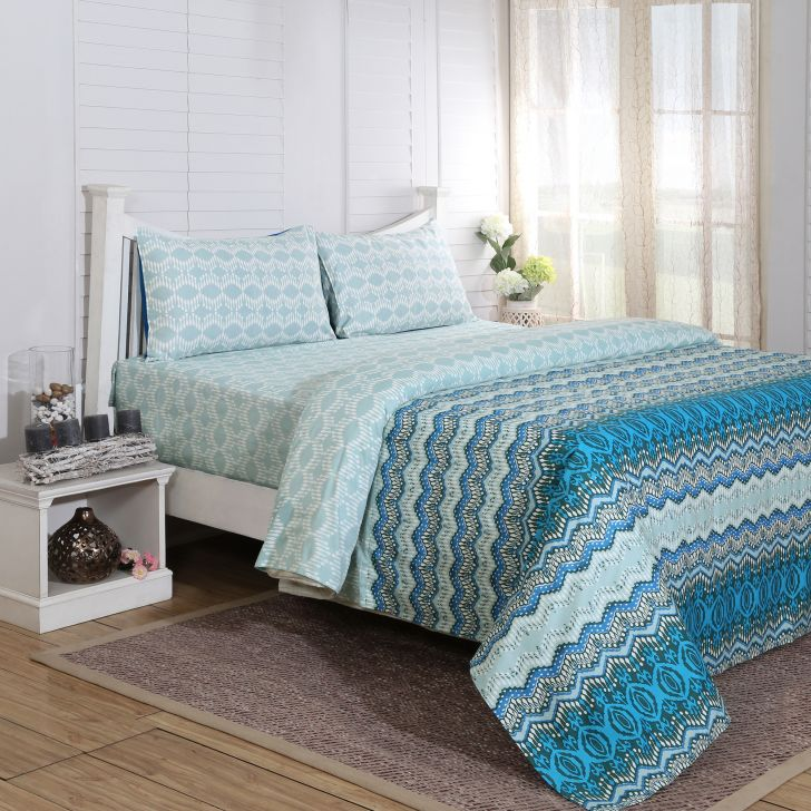 Maspar 210 TC Myriad Print Cotton Blue Single Bedsheet with 1 Pillow Cover