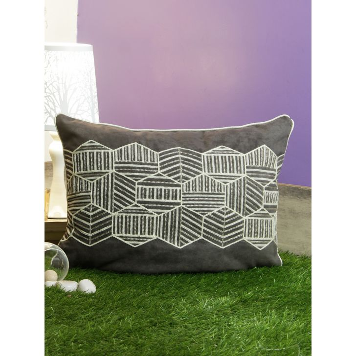 Modern Hexo Polyester Cushion Covers in Charcoal Colour by Living Essence