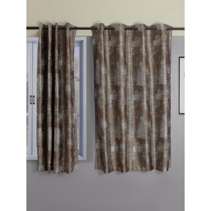 Set of 2 Amour Polyester Window Curtains in Beige Colour by Living Essence