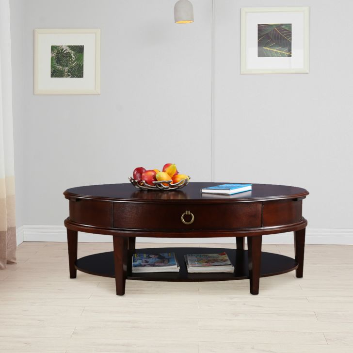 Cynthia Solid Wood Center Table in Brown Colour by HomeTown