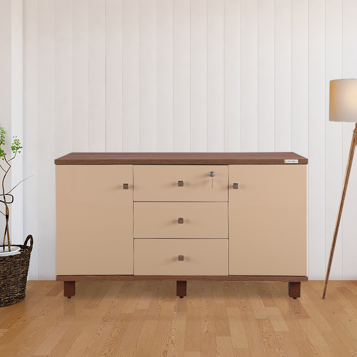 Chief Engineered Wood Office Storage in Wallnut Bronze & Capuchino Colour by HomeTown
