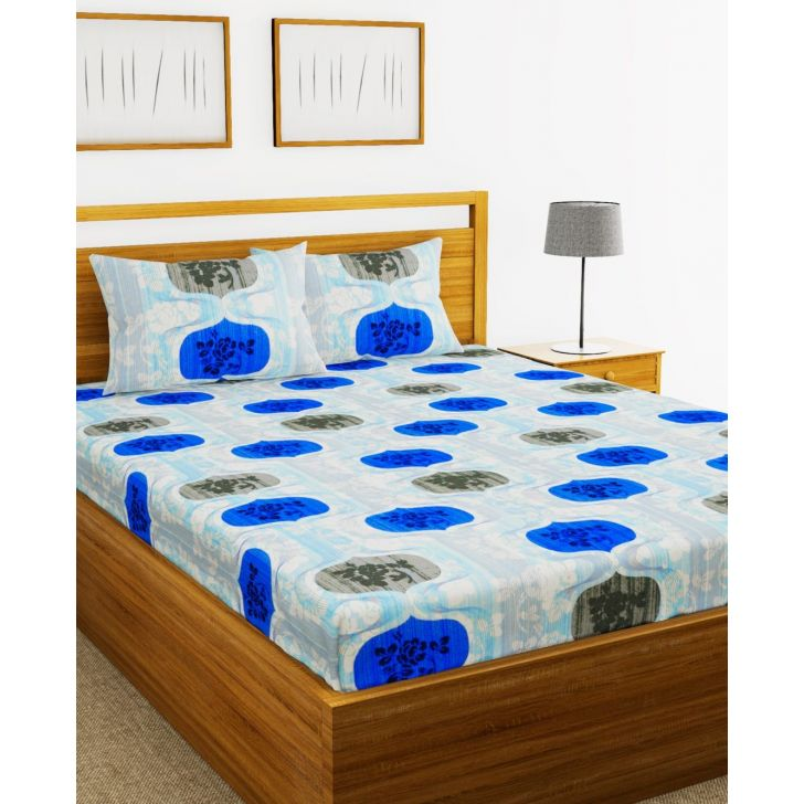 Essenza Cotton King Bed Sheet 220X254 CM in Blue Colour