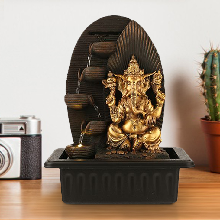 Impression Ganesh Ray Pot Polyresin Small Fountains in Brown/Gold Colour by Living Essence