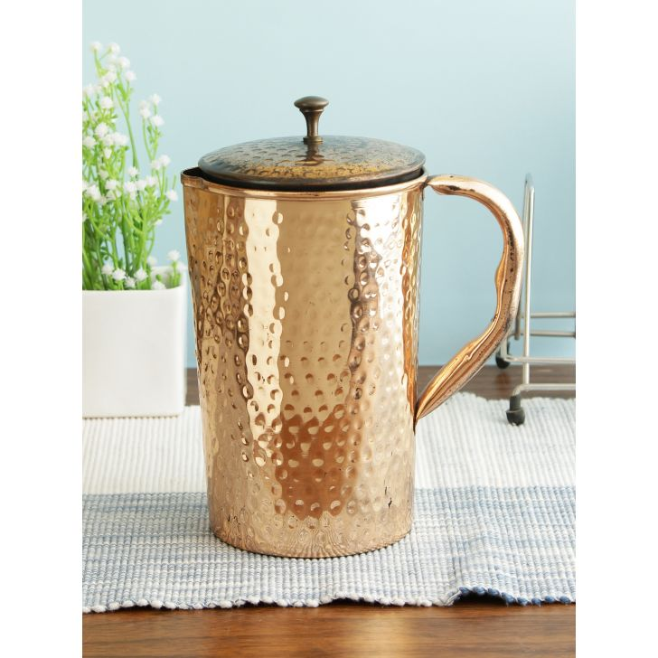 Hammered Copper Jug 1.2 Ltr in Copper Colour by Living Essence