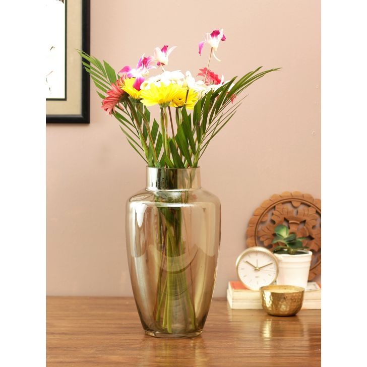 Eva Modern Tall Glass Vase Gold Glass Vases in Gold Colour by Living Essence