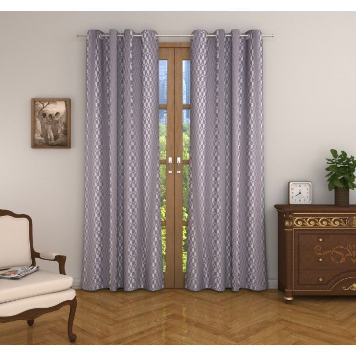Amour Jacquard Set of 2 Door Curtain in Charcoal Colour