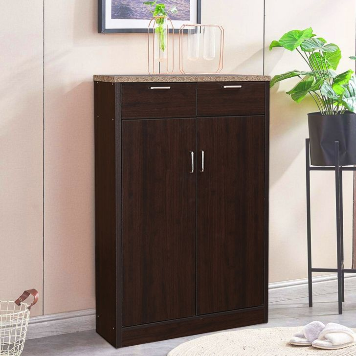 Murano Marble Finish Top Multipurpose Cabinet in Wenge Colour