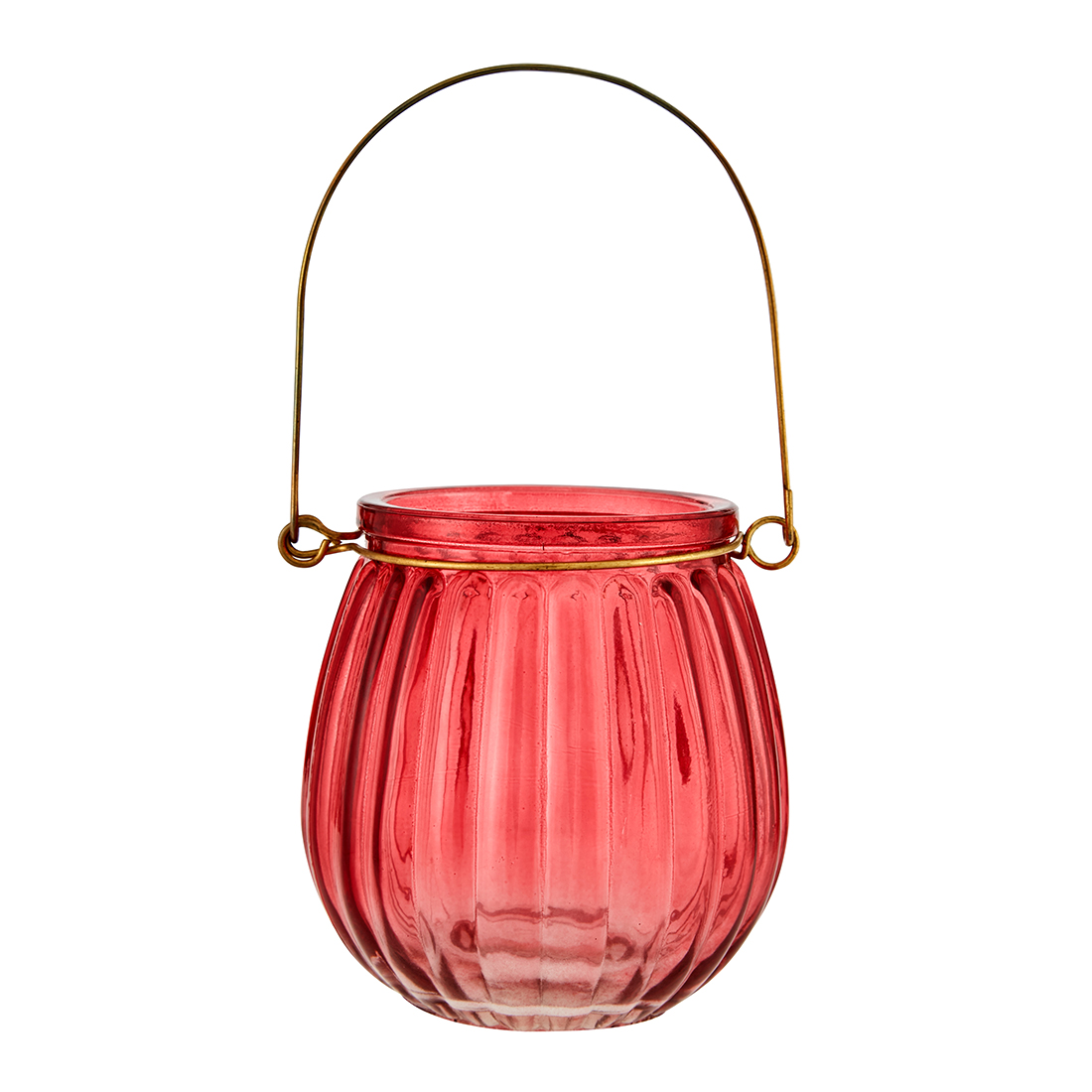 Marvela Colored Glass Candle Holder Red Glass Candle Holders in Red Colour by Living Essence