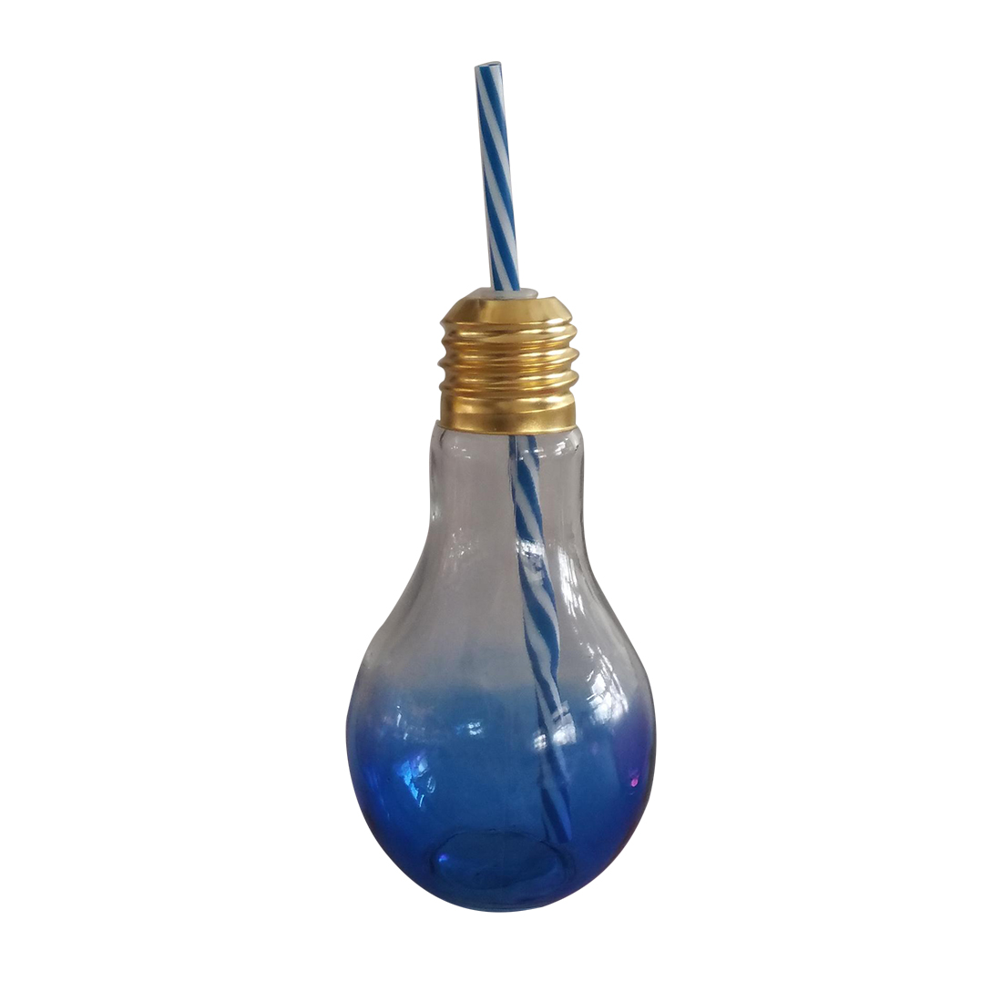 Ombre Ultramarine Bulb Sipper Glass Glass Bottles in Blue Colour by HomeTown