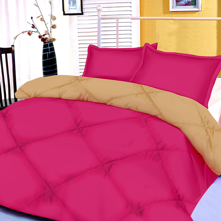 Solid Polyester Double Comforter Pink And Beige Polyester Comforters by Living Essence