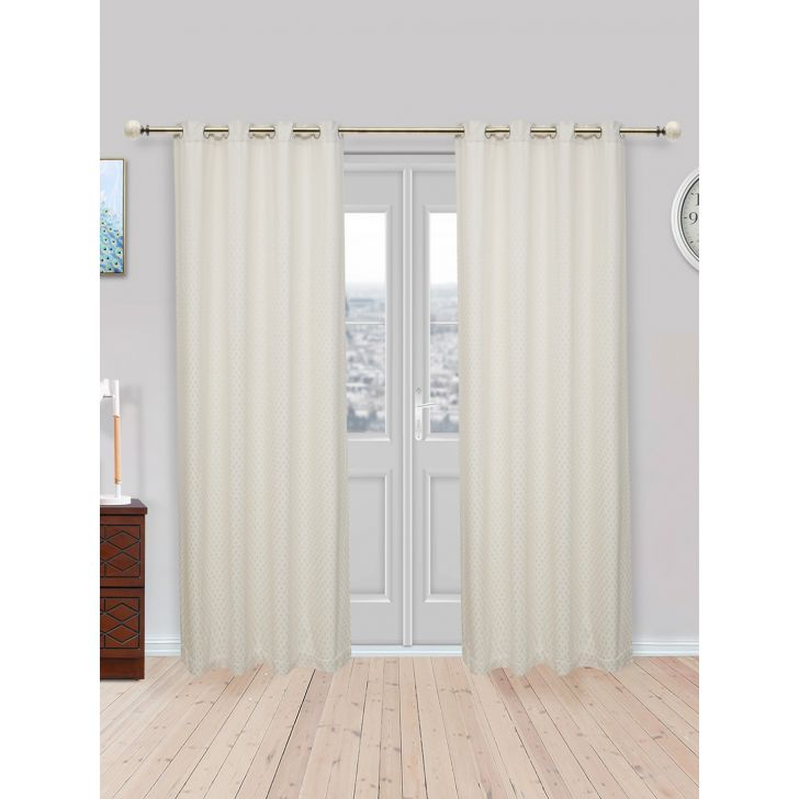 Fiesta Jacquard Set of 2 Cotton Door Curtains in Off White Colour by Living Essence