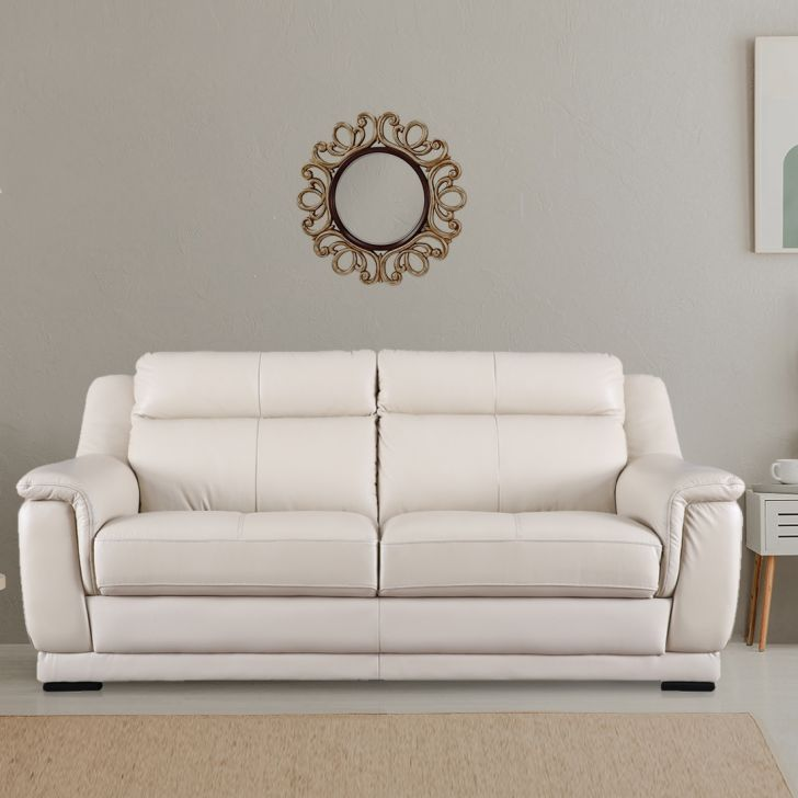 Agata Half Leather Three Seater Sofa in Beige Colour by HomeTown