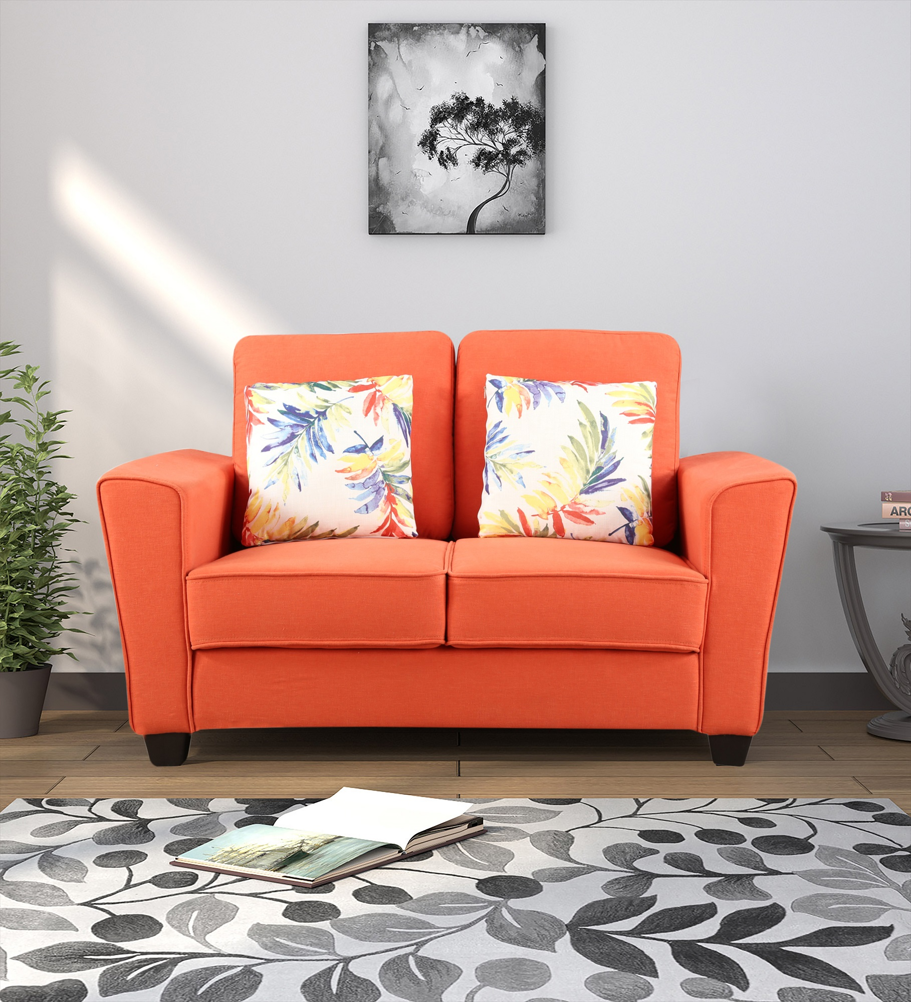 Rogers Fabric Two Seater sofa in Rust Colour by HomeTown