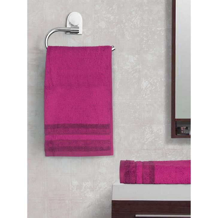 Spaces Bamboo Charcoal Solid 550 Gsm Cotton Purple 2 Pcs Set Hand Towel
