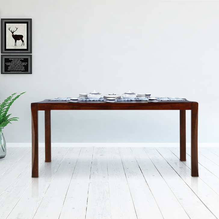 Parker Solid Wood Six Seater Dining Table in Brown Colour by HomeTown