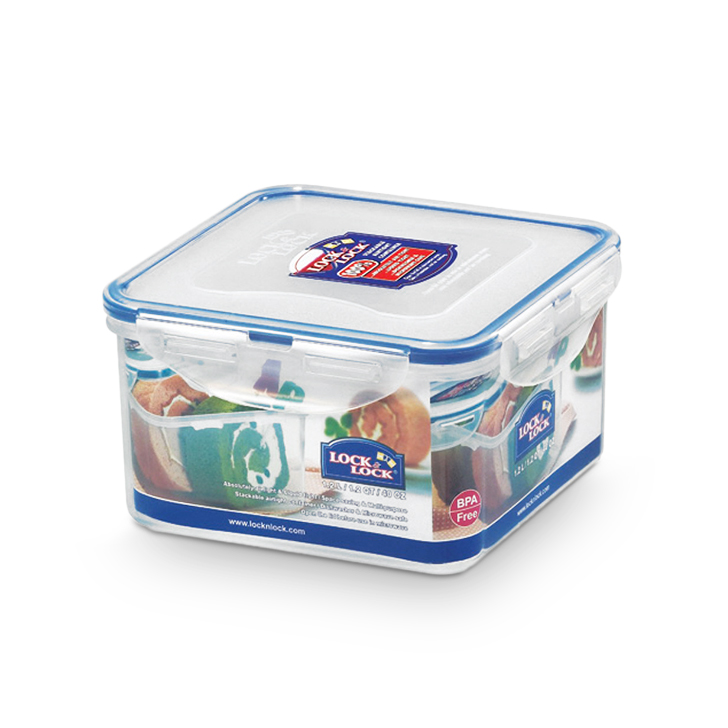 Lock & Lock Classics Square Food Container 1200 ml Polypropylene Containers in Transparent Colour by Lock & Lock