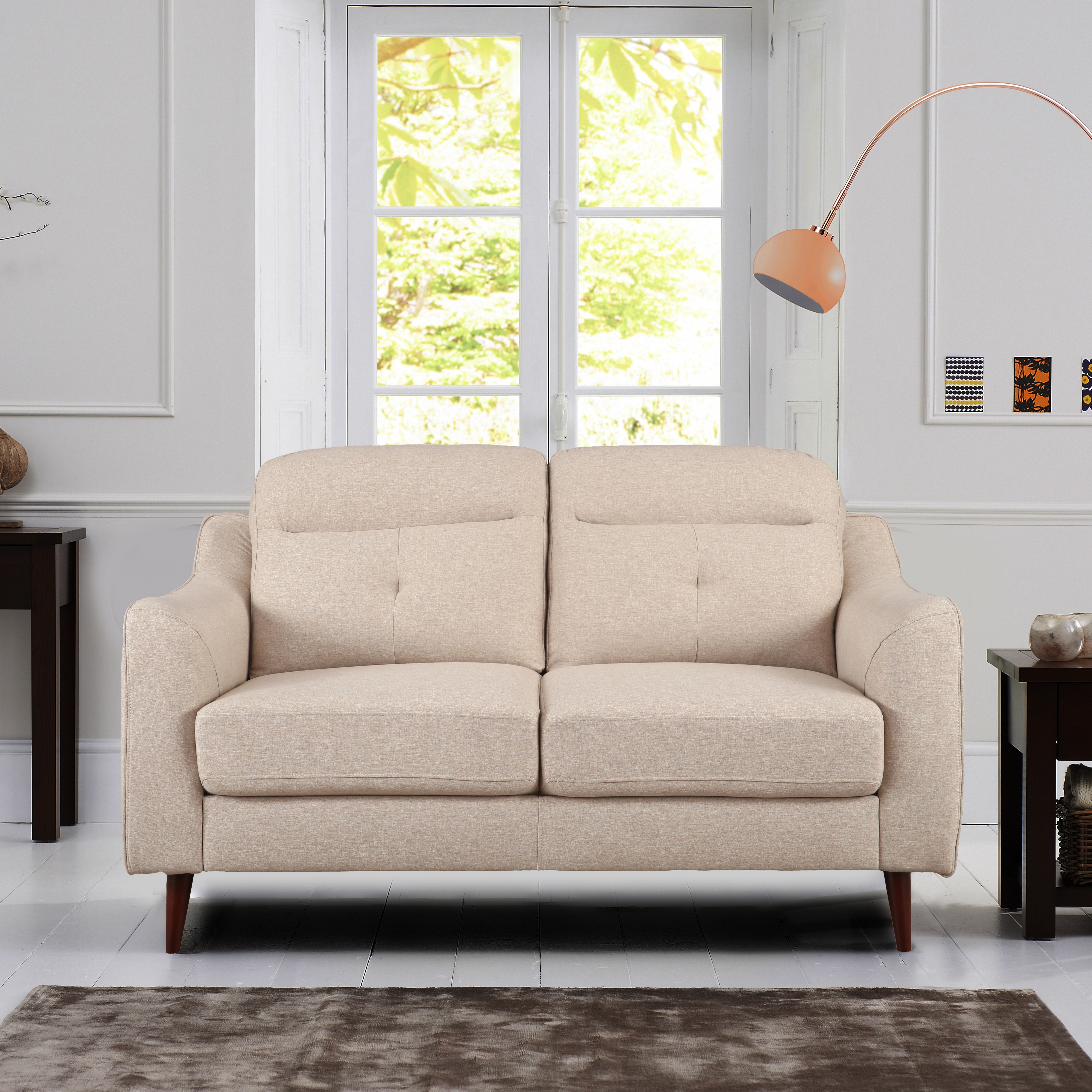 Sheldon Fabric Two Seater Sofa in Beige Colour by HomeTown