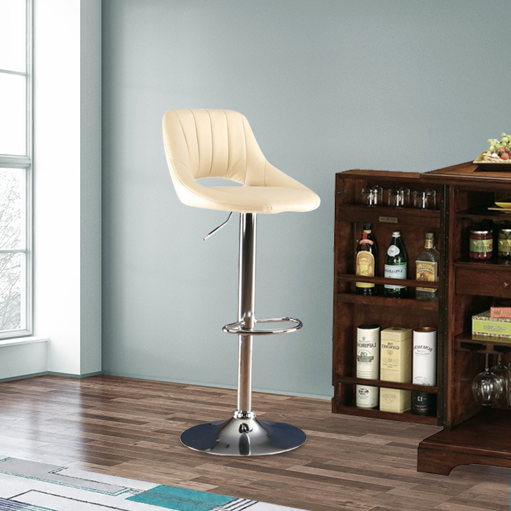 Mabel Polyurethane Bar Chair and Stool in Beige Colour by HomeTown