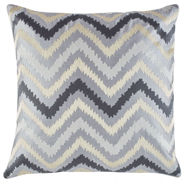 Modern Big Chevron Polyester Cushion Covers in Charcoal Colour by Living Essence