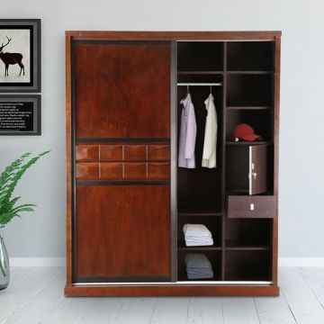 100% authentic f37c5 b7bf9 Amelia Solid Wood Sliding Wardrobe in Brown Colour by HomeTown